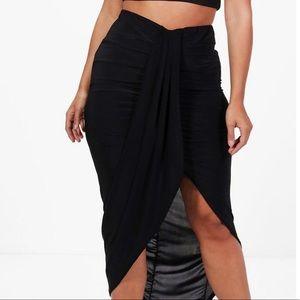 ***NWT**  Black Wrap Front Maxi Skirt